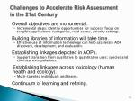 challenges to accelerate risk assessment in the 21st century