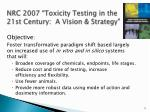 nrc 2007 toxicity testing in the 21st century a vision strategy
