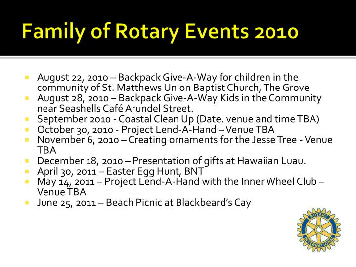 Family of Rotary Events 2010
