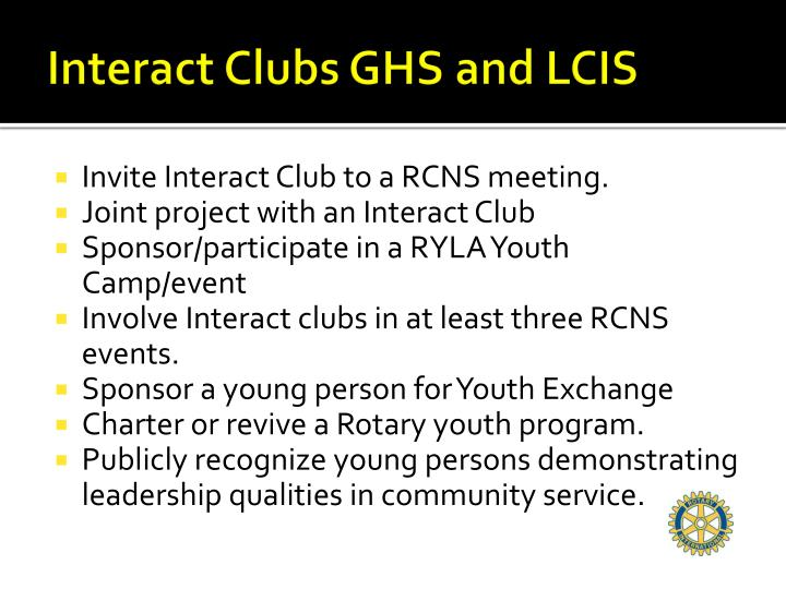 Interact Clubs GHS and LCIS