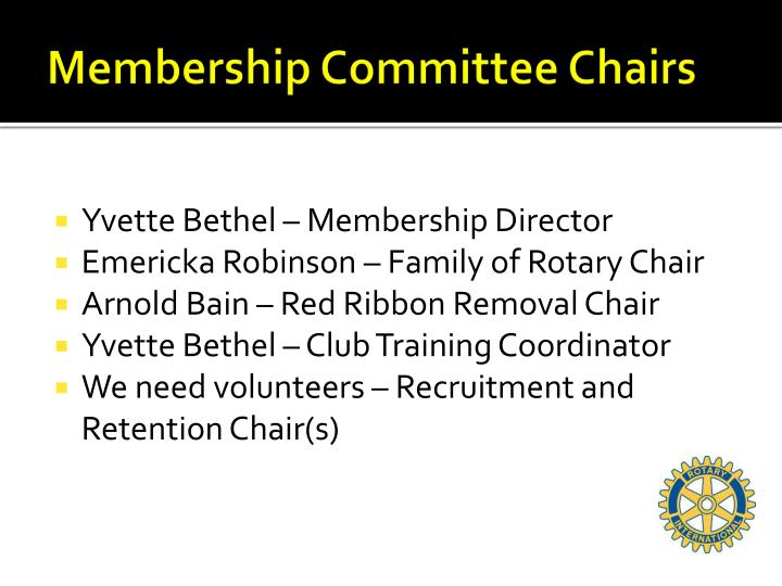 Membership committee chairs
