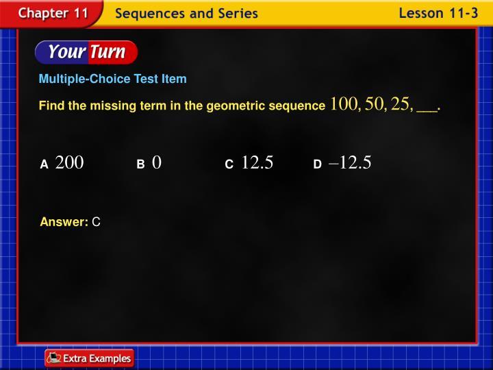 Multiple-Choice Test Item