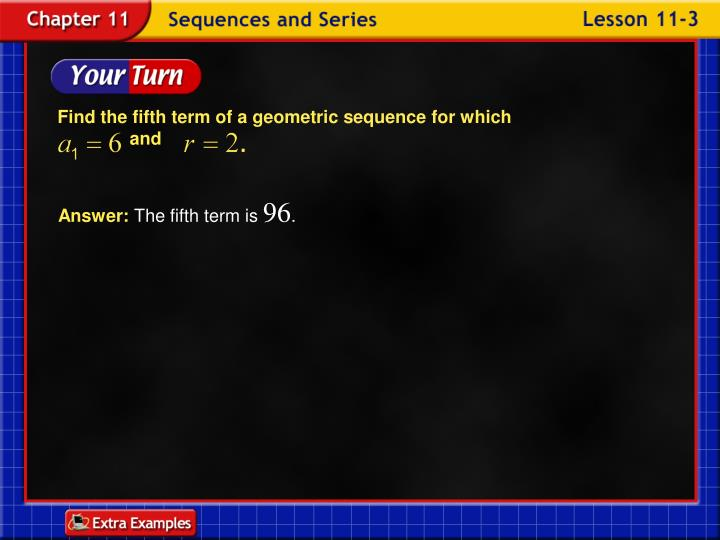 Find the fifth term of a geometric sequence for which