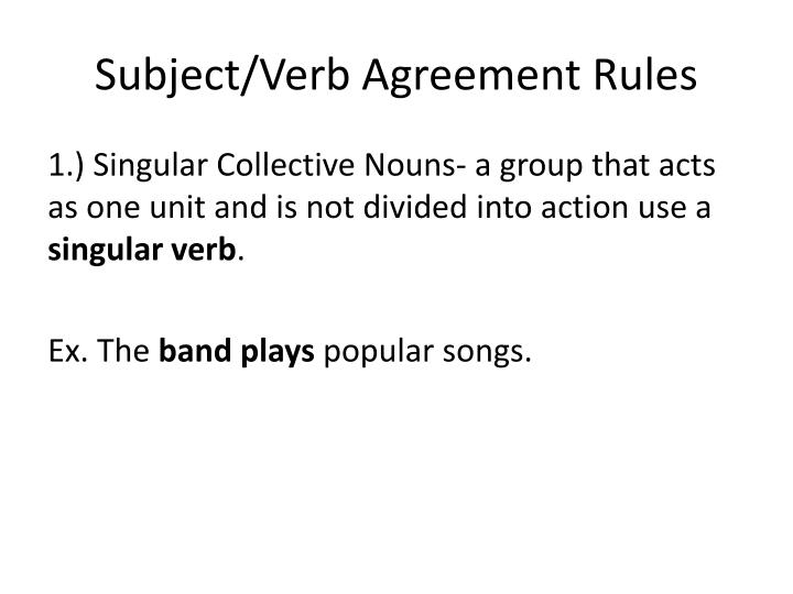 Ppt Subjectverb Agreement Rules Powerpoint Presentation Id2003473