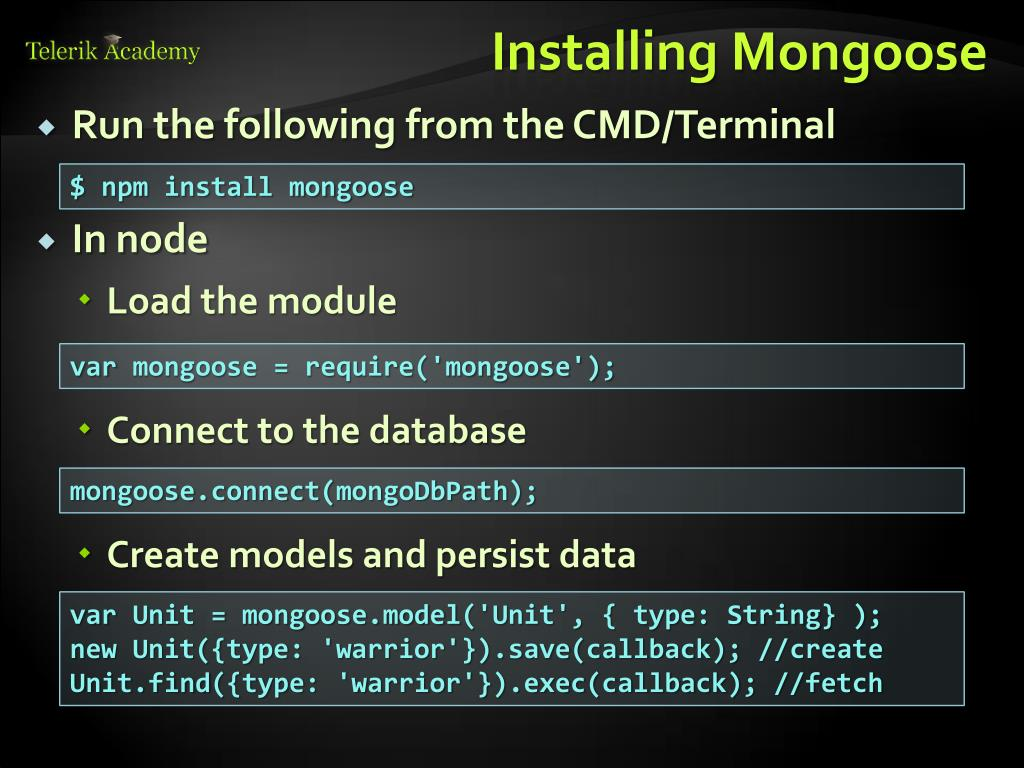 PPT - MongoDB and Mongoose PowerPoint Presentation - ID:2003482