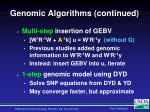 genomic algorithms continued