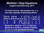 modified 1 step equations legarra and ducrocq 2011