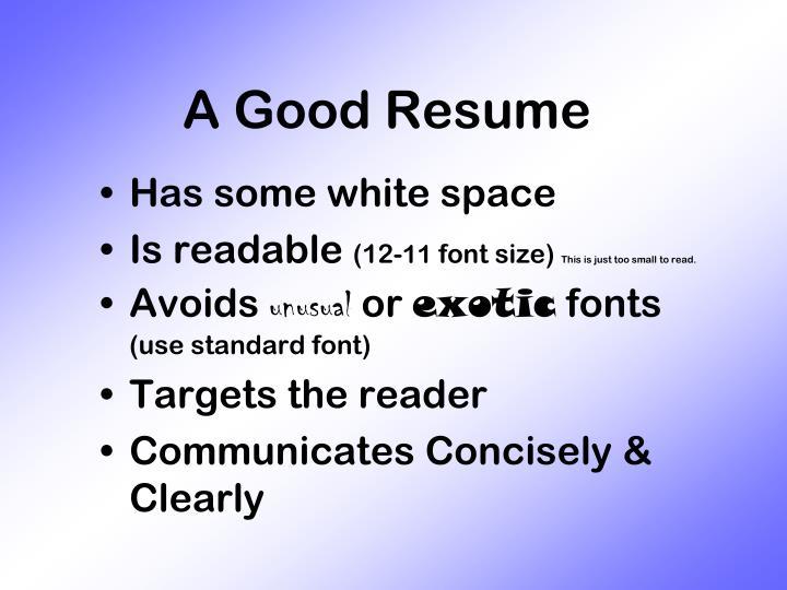 A Good Resume