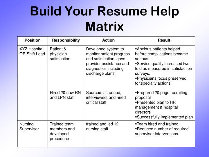 Build Your Resume Help Matrix