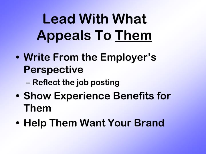 Lead With What Appeals To
