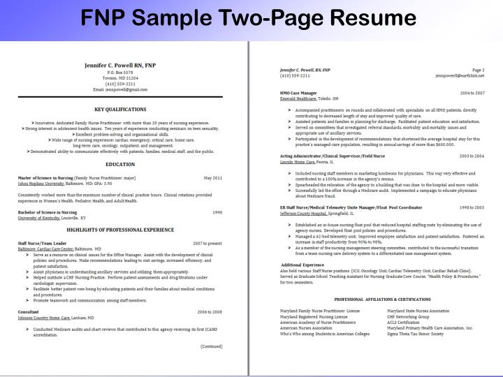 FNP Sample Two-Page Resume
