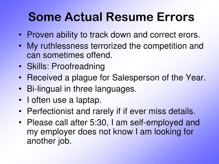Some Actual Resume Errors