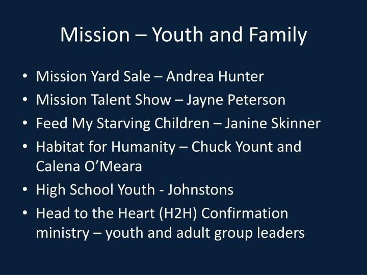 Mission – Youth and Family