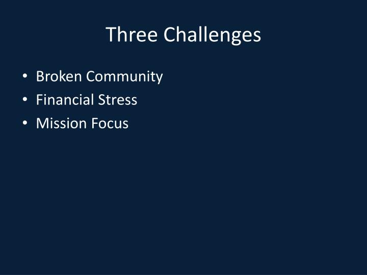 Three challenges1