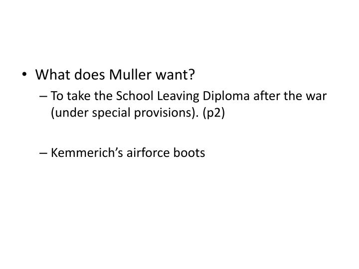 What does Muller want?