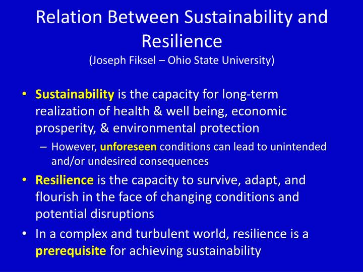 Relation Between Sustainability and Resilience