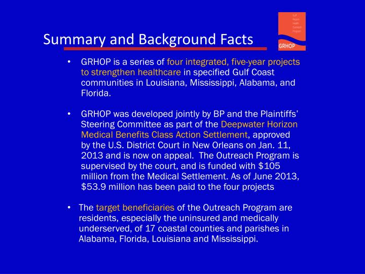 Summary and Background Facts