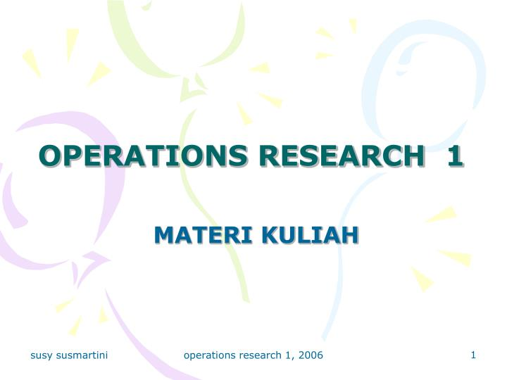 operations research 1 n.