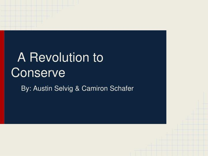 a revolution to conserve