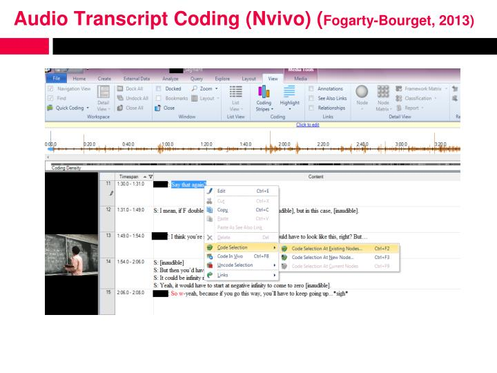 Audio Transcript Coding (