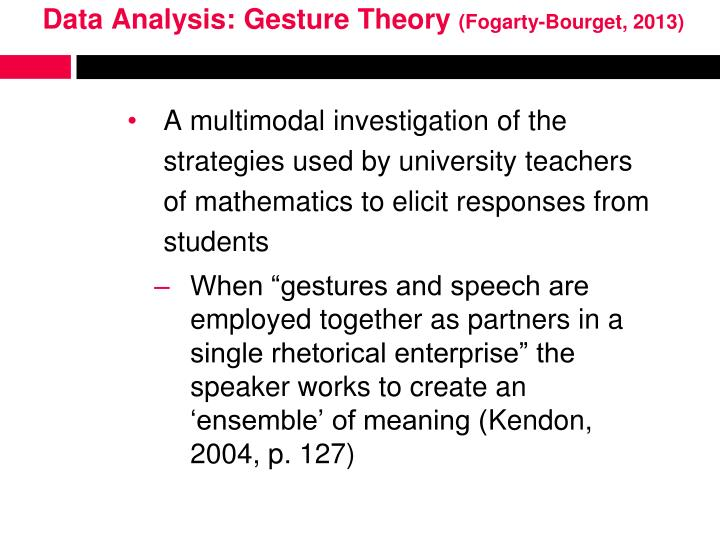 Data Analysis: Gesture Theory