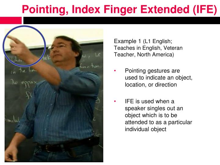 Pointing, Index Finger Extended (IFE)
