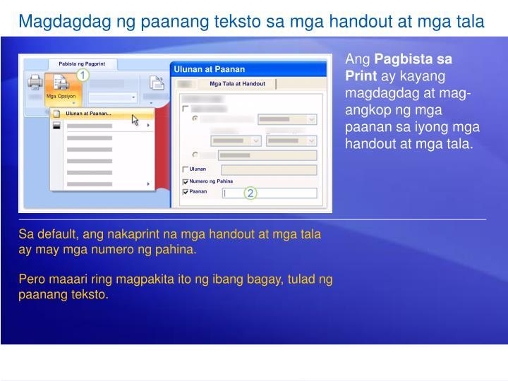 Magdagdag ng paanang teksto sa mga handout at mga tala