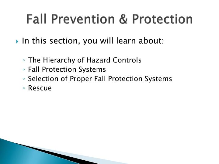Fall prevention protection