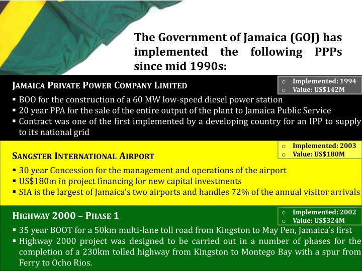 The Government of Jamaica (GOJ) has implemented the following PPPs since mid 1990s: