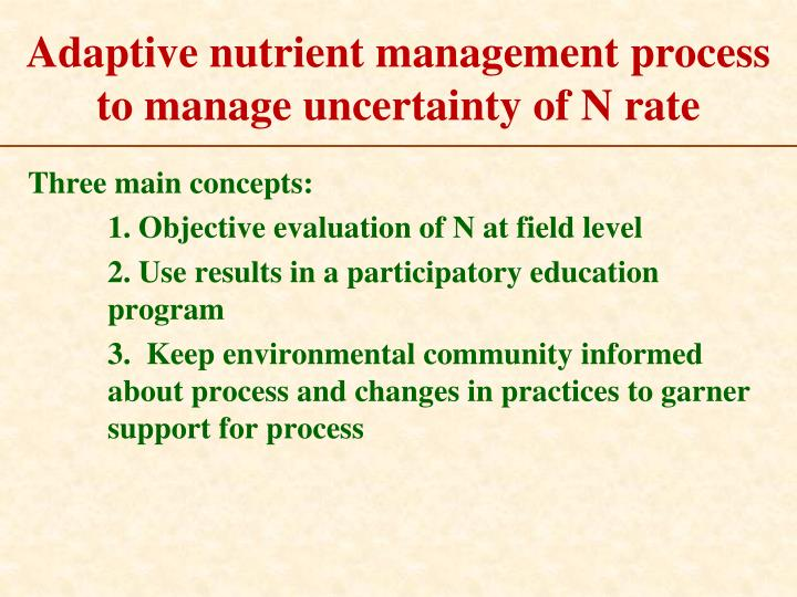 Adaptive nutrient management process to manage uncertainty of N rate