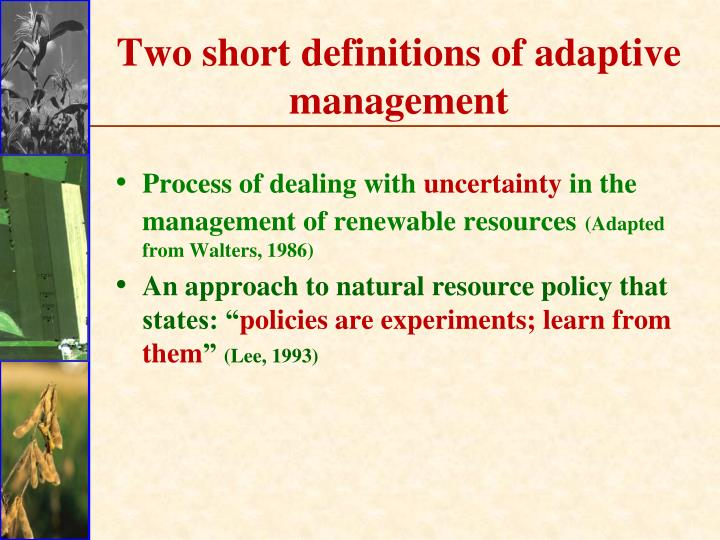Two short definitions of adaptive management