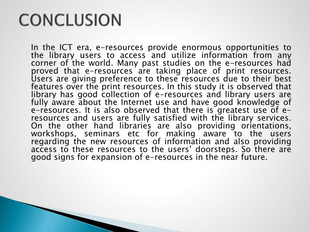 PPT - USE OF E-RESOURCES AND SERVICES IN NAVA NALANDA