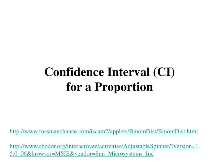 confidence interval ci for a proportion