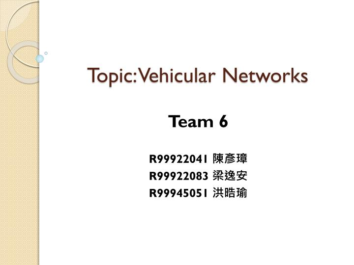 topic vehicular networks n.