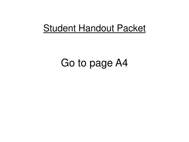 student handout packet n.