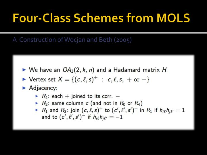 Four-Class Schemes from MOLS