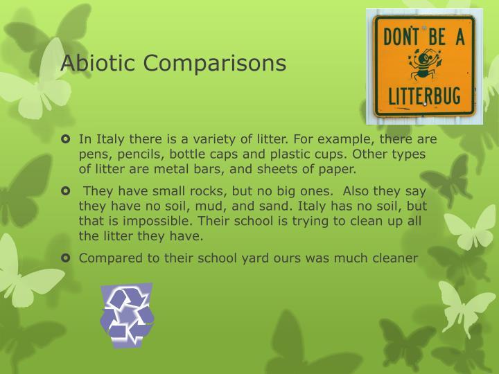 Abiotic Comparisons