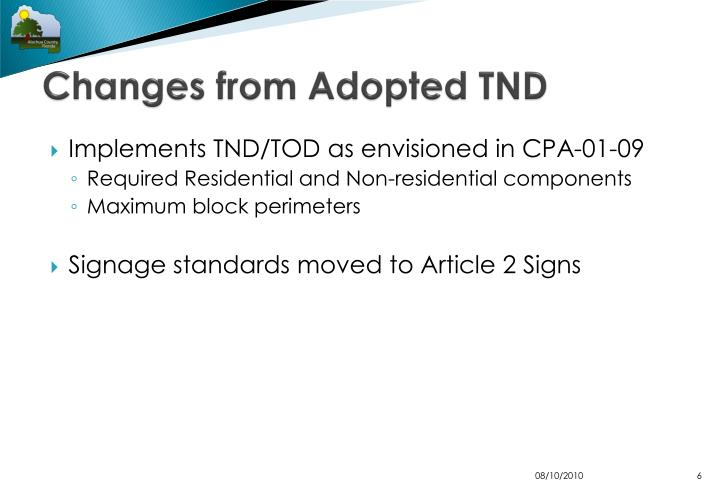 Changes from Adopted TND