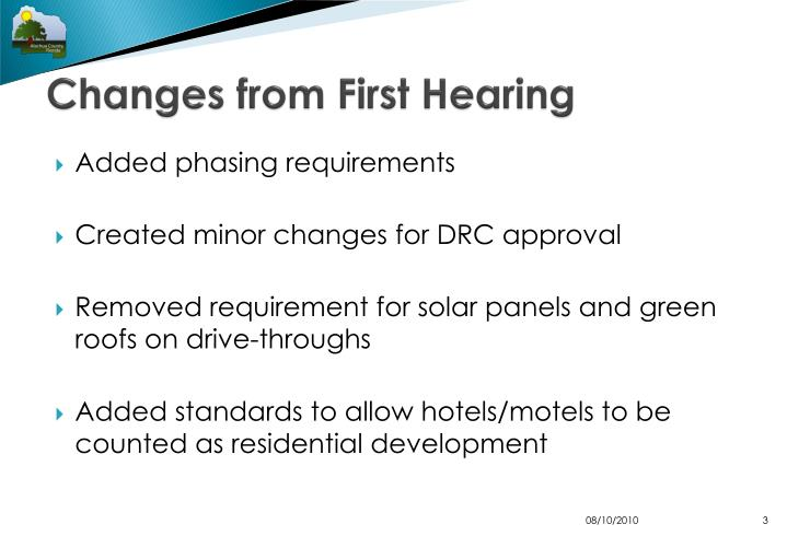 Changes from first hearing