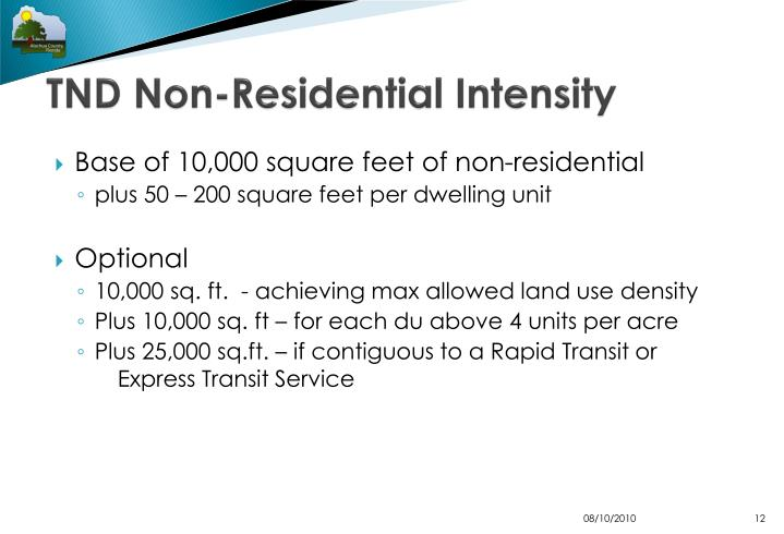 TND Non-Residential Intensity