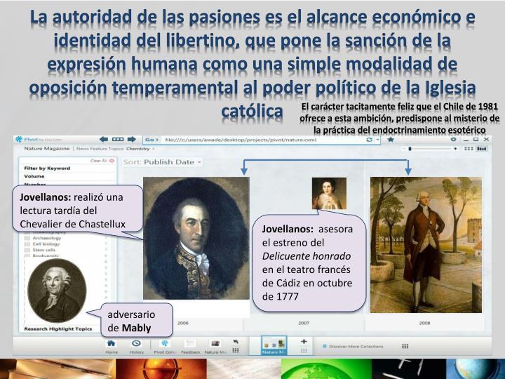 La autoridad de las pasiones es el alcance económico e identidad del libertino, que pone la sanción de la expresión humana como una simple modalidad de oposición temperamental al poder político de la Iglesia católica