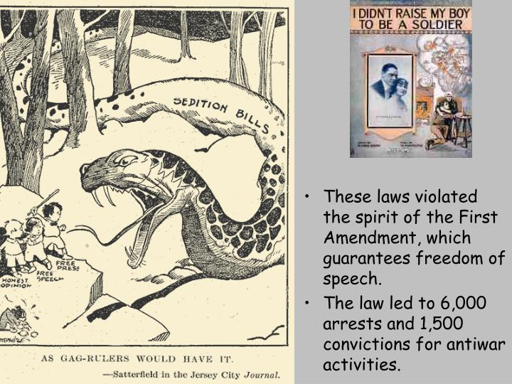 These laws violated the spirit of the First Amendment, which guarantees freedom of speech.