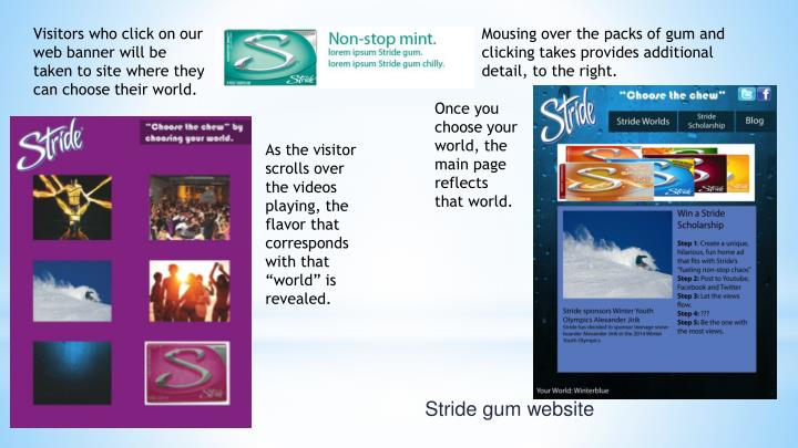 Visitors who click on our web banner will be taken to site where they can choose their world.