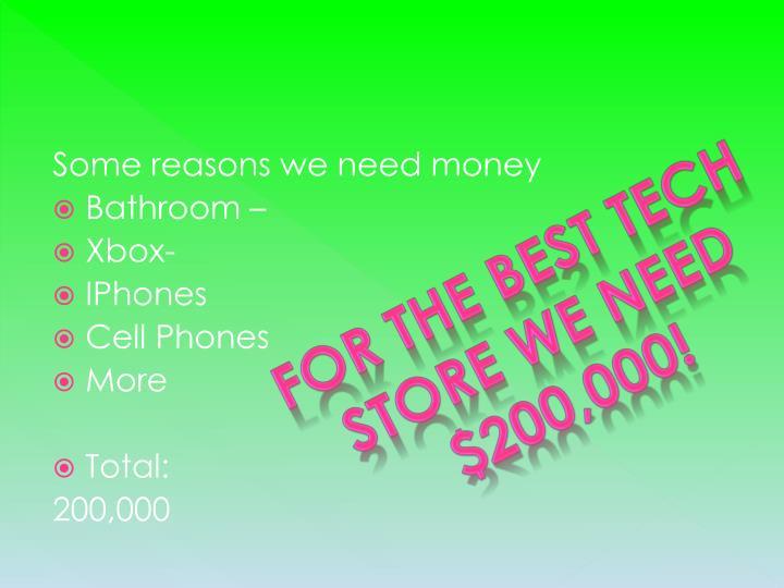 Some reasons we need money
