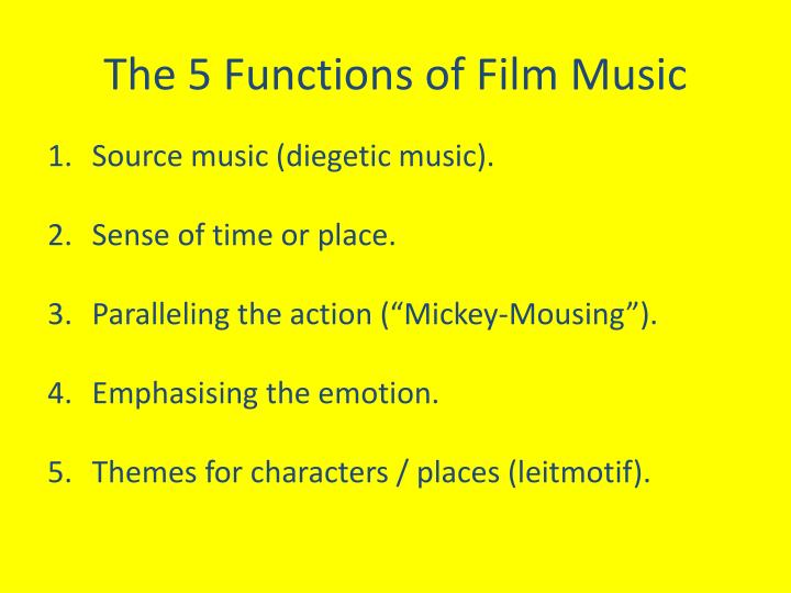 functions of film music Responsibilities of a movie producer - movie producers guide a film project from its inception to after its release learn about movie producers at howstuffworks.