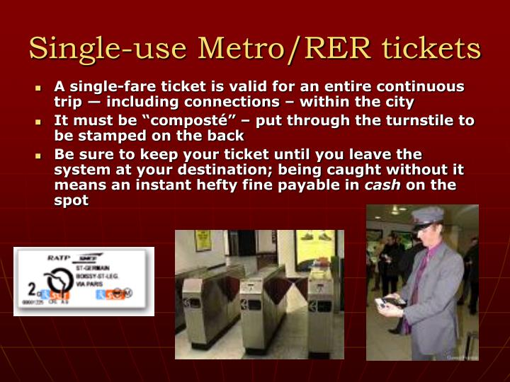 Single-use Metro/RER tickets