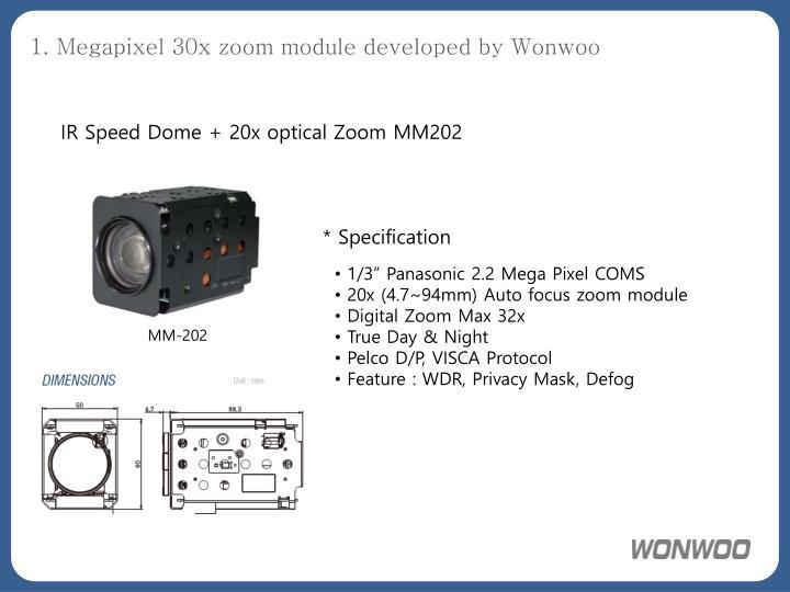 1 megapixel 30x zoom module developed by wonwoo