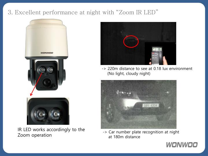 """3. Excellent performance at night with """"Zoom IR LED"""""""