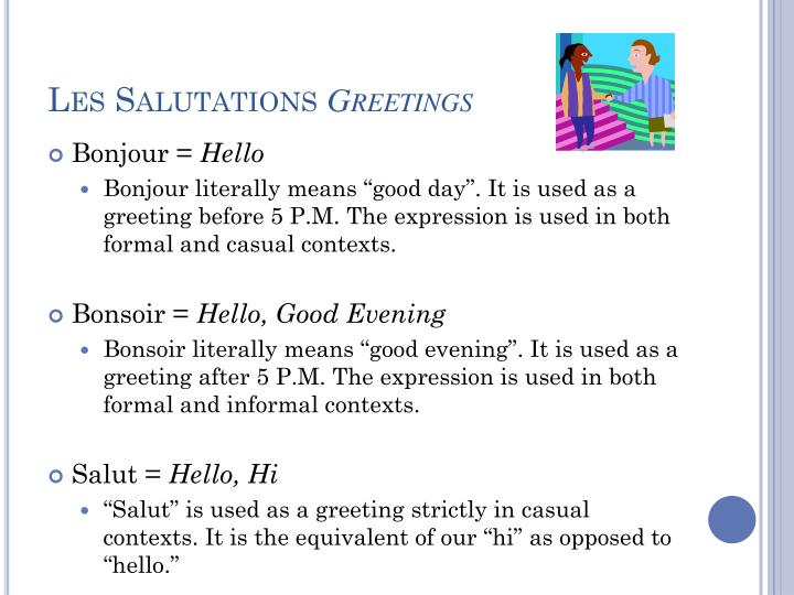 Ppt basic french i powerpoint presentation id2006932 les salutations greetings m4hsunfo