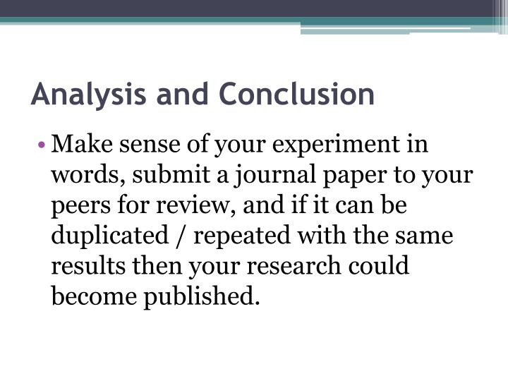 Analysis and Conclusion